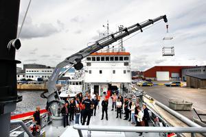 Tony Holmberg berättade för särskilt inbjudna från bland andra polisen, räddningstjänsten och länsstyrelsen om det nya fartyget.