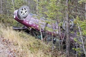 Bilen voltade runt och stannade en bit in i snårskogen bredvid E45.