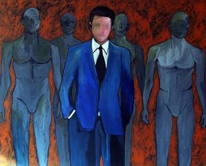En kostym med slips tilldelar automatiskt en person makt, respekt och auktoritet, enligt konstnären Fern Scott Olsson. Här målningen Mannequins.