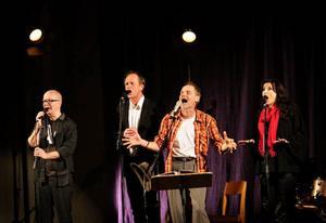 Publikkontakten var total när Peter Carlsson och Blå Grodorna i går kväll tog Stugun med storm.  Två drygt timslånga  föreställningar med Ola Norrman, Staffan Wiklander, Peter Carlsson och Kristine Stenerhag.
