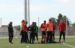 Övriga spelare samlades snabbt runt Fouad Bachirou efter smällen på tisdagens träning. Jenny Larsson var snabbt framme och tittade till Bachirou, som tog sig upp på egen hand efter smällen.