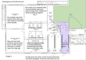 Skissen visar en del av bottenvåningen på nya Ransta skola. Det gröna området är köket.