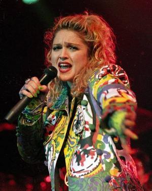 Madonna under sin första rikstäckande turné i USA, år 1985.