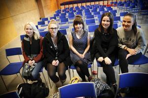 Fanny Nilsson, Stina Bodell, Maja Héden, Annalina Lidgren och Frida Andersson har lyssnat på ett föredrag på Framtidsmässan.