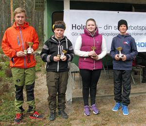 De tävlande i ungdomsklasserna var från vänster, Alexander Trygg, Mathias Thullnérs Häll, Fredrika Mattsson och Axel Grinde.