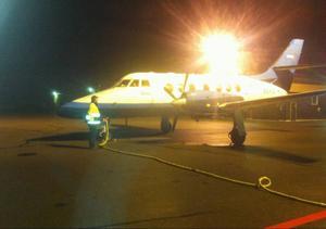 Flyget från Sveg till Arlanda lyfte enligt tidtabellen på måndagsmorgonen.