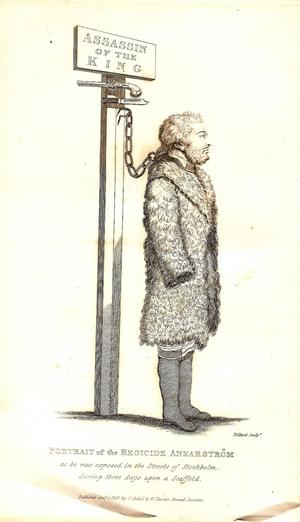 Jakob Johan Anckarström, Gustav III:s mördare. I halsjärn men till synes helt cool inför sin avrättning. Bilden ur Clarkes bok om sin resa i Skandinavien 1799.