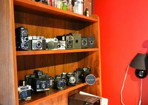 Joels samling av äldre kameror.