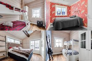 Fyra av de fem sovrummen, som alla har vitlaserad panel.