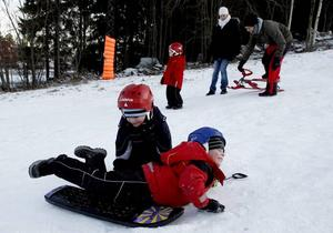 Magplask. William och Viktor Eriksson fick en snowboard i julklapp, men den visade sig fungera bättre som pulka.
