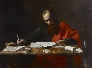 Paulus skriver sina brev. Målning av Valentin de Boulogne från   1618.