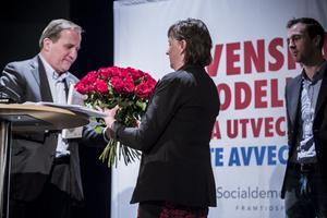 Härjedalens oppositionsråd, Gunilla Zetterström Bäcke (S), var väldigt glad över att Stefan Löfven besökte Härjedalen.