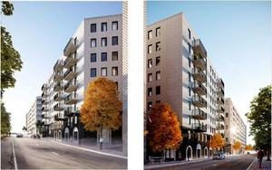 Kvarteret Sländan består av tre etapper, här är visionen för etapp 2 som ligger i Astrabacken och innehåller cirka 140 bostadsrätter. Just nu byggs 440 hyresrätter i etapp 1, närmare Campus Telge. Planerna för etapp 3 pågår och innehåller ett högt hus, förmodligen två torn, med bostäder och offentliga lokaler. Skiss: Wingårdhs arkitekter/Magnolia bostad/Södertälje kommun