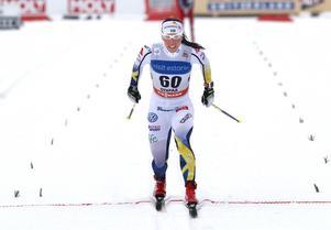 Sveriges Charlotte Kalla under VM-genrepet i Otepää.