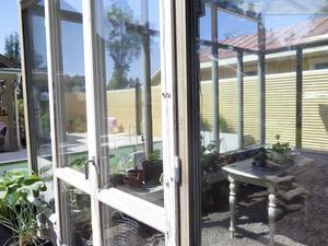 En del av växthuset är från återvunnet material. Fönstren har till och med persiennsnöret kvar.