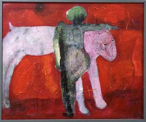 """""""Riktning i rött landskap"""". Av Ingmarie Utbys."""