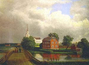 I Hamrånge. Målning av Albert Blombergsson 1864. Här fick han en beställning av den stora altartavlan till kyrkan på temat Uppståndelsen.