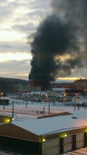 Branden på tisdagseftermiddagen på ABB i Ludvika.
