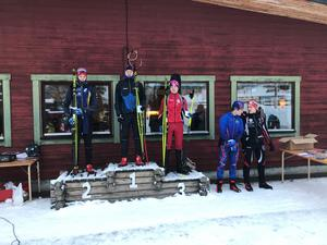 Prispallen vid söndagens sprinttävlingar i skidskytte som avgjordes i Sveg.
