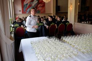 Dryck uppställt för studenterna att inleda sitt firande med.