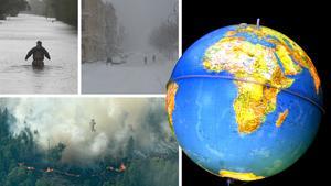 Det senaste årets extrema väder visar att läget är kritiskt, men trots det sker inga radikala förändringar i klimatarbetet, menar skribenten. Bilder: Tom Copeland/TT / Eva-Lena Olsson / Maja Suslin/TT / Hasse Holmberg/TT