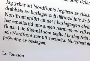 Kammaråklagare Lo Jonsson yrkar på att Nordfronts begäran avvisas. Bild: Skärmdump från korrespondens till Tingsrätten.