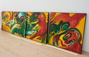 Fyra av de konstverk som hörde ihop i en 15 meter lång bildsvit och förr hängde i Härnösands Stadshotell.