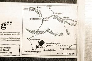 Karta över fjällområdet publicerad i ÖP måndagen efter olyckan.