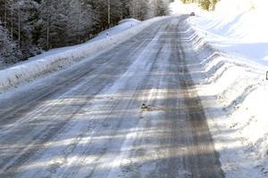 Anders Johansson hävdar att vägen borde hyvlas kanske en gång i veckan för att ta bort hjulspåren.