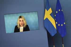 Socialminister Lena Hallengren håller en pressbriefing om vaccinet mot covid-19.