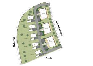 Planen är tre hus med lägenheter närmast Hjortnäsvägen och fem villatomter nedanför. (Bild: Reierstam Arkitektur)