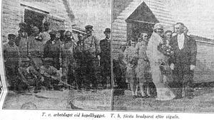 Arbetslaget fick posera på bild i tidningen. Liksom första brudparet. Det var Sven Österman och Ruth Victoria Lindström, dotter till Arholmas fyrmästare, som sa ja till varandra.