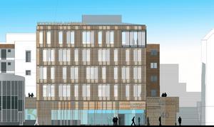 """Nya bilden på kommunhuset. """"Bottenvåningen utförs transparent och med en våningshöjd på fem meter"""", står att läsa i bygglovshandlingarna. Och vidare: """"Den nya byggnaden blir totalt fem våningar, i skala likvärdig de nya centrumkvarteren. På grund av våningshöjden i kontor jämfört med bostäder blir byggnadshöjden något högre."""" Illustration: Scheiwiller Svensson arkitektkontor"""