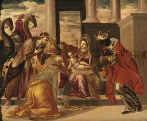 De tre vise männen beundrar det nyfödda Jesusbarnet. Målning av El Greco från 1568.