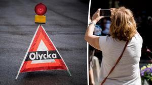 Att vara i vägen för räddningspersonal för att kunna ta bilder är ett beteende som borde vara straffbart, menar Sverigedemokraterna.  Bilder: Pontus Lundahl/TT / Christine Olsson/TT
