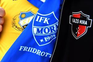 Tre av de föreningar som Ola Mopers brinner för: Sollerö IF, IFK Mora och KAIS Mora.