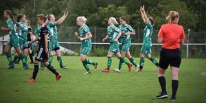 Själevadspelarna firar efter ett av målen i 8-4-segern mot IF Team Hudik.