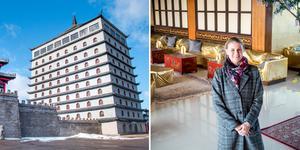 Hotellrummen på Dragon Gate kan ge vila åt en del av de som kommer till Gävle under EM-veckan i sommar. Sara Donnerstål, värd för hotellet, förhandlar med arrangörerna.