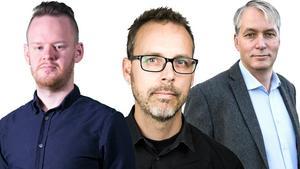 Johanni Sandén, nöjesredaktör (vänster), Anders K Gustafsson, kulturredaktör (mitten), Kenneth Westerlund, näringslivsreporter (höger).