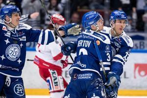 Jon Knuts gjorde 1–0-målet som kom efter hård press under lång tid av hemmalaget. Foto: Daniel Eriksson/Bildyrån.