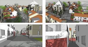 Skissen är ett tidigt förslag på hur det kan komma att se ut på Silvervallen. Illustration: Landmark & Stanfield Arkitektur AB