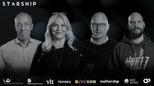 Juryn består av (från vänster) Kai Wärn, Maria Fors, Olle Mellinger och Linus Brostedt. Foto: Västerås Citysamverkan