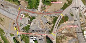 Trafiken dras om från utfarten mot väg 73. llustration: Nynäshamns kommun