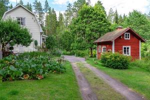 Huset och gäststugan på tomten. Foto: Emelie Larsson