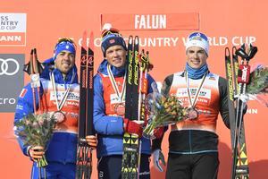 Norges Johannes Höstflot Kläbo segrade före Italiens Federico Pellegrino och Frankrikes Lucas Chanavat. Foto: Ulf Palm/TT