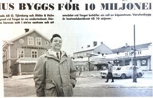ÖA 7 mars 1969. Direktör Gunnar Tjernberg framför Shells kontorsbyggnad som skall rivas.