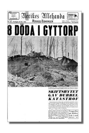 Svår olycka. Åtta anställda omkom när runt tre ton sprängämne exploderade den 29 oktober 1964, här NA:s förstasida dagen efter.