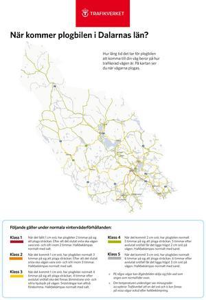 Vägverkets karta över länets vägar och när de plogas.