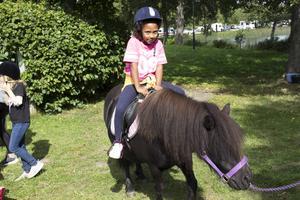 Johanna Härdelin 6 år tyckte att det var roligt att rida.