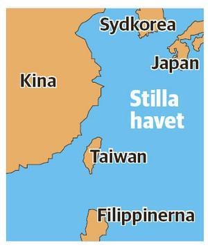 Taiwan har cirka 23,5 miljoner invånare och ligger utanför Folkrepubliken Kinas östkust. Karta: Stefan Ignell/NA